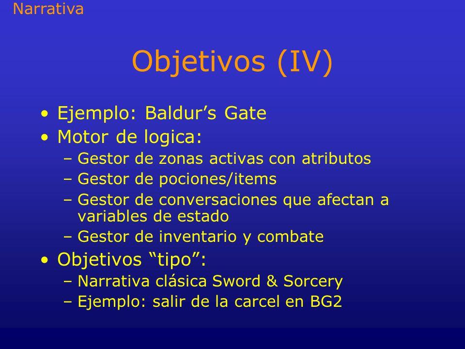 Objetivos (IV) Ejemplo: Baldurs Gate Motor de logica: –Gestor de zonas activas con atributos –Gestor de pociones/items –Gestor de conversaciones que a