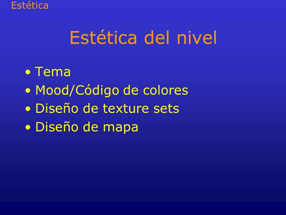 Estética del nivel Tema Mood/Código de colores Diseño de texture sets Diseño de mapa Estética