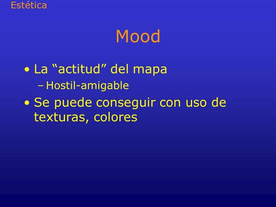 Mood La actitud del mapa –Hostil-amigable Se puede conseguir con uso de texturas, colores Estética