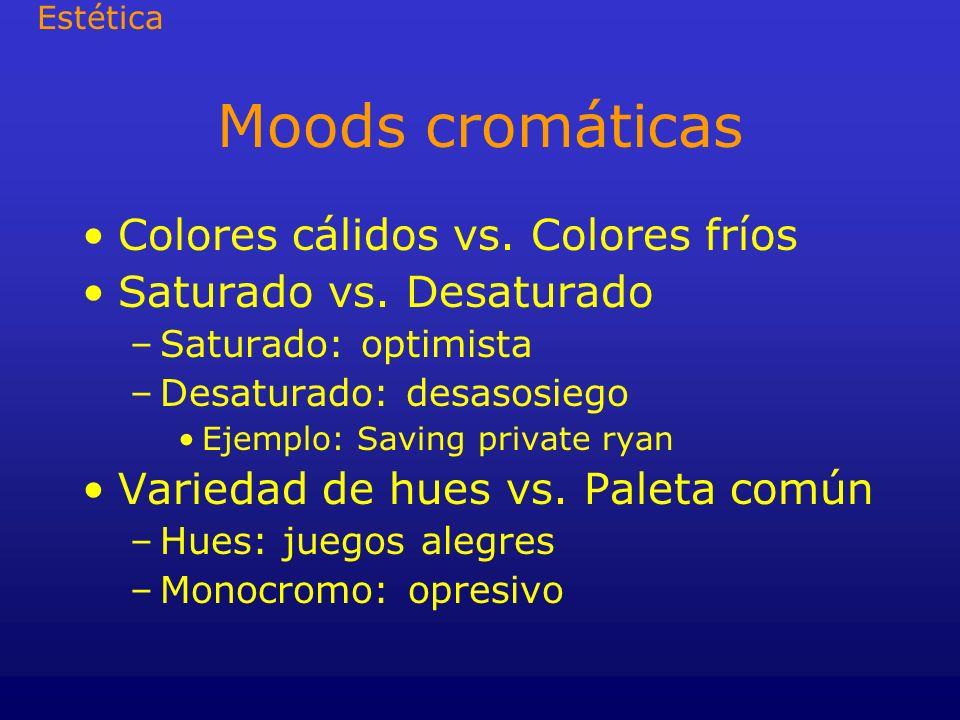 Moods cromáticas Colores cálidos vs. Colores fríos Saturado vs. Desaturado –Saturado: optimista –Desaturado: desasosiego Ejemplo: Saving private ryan