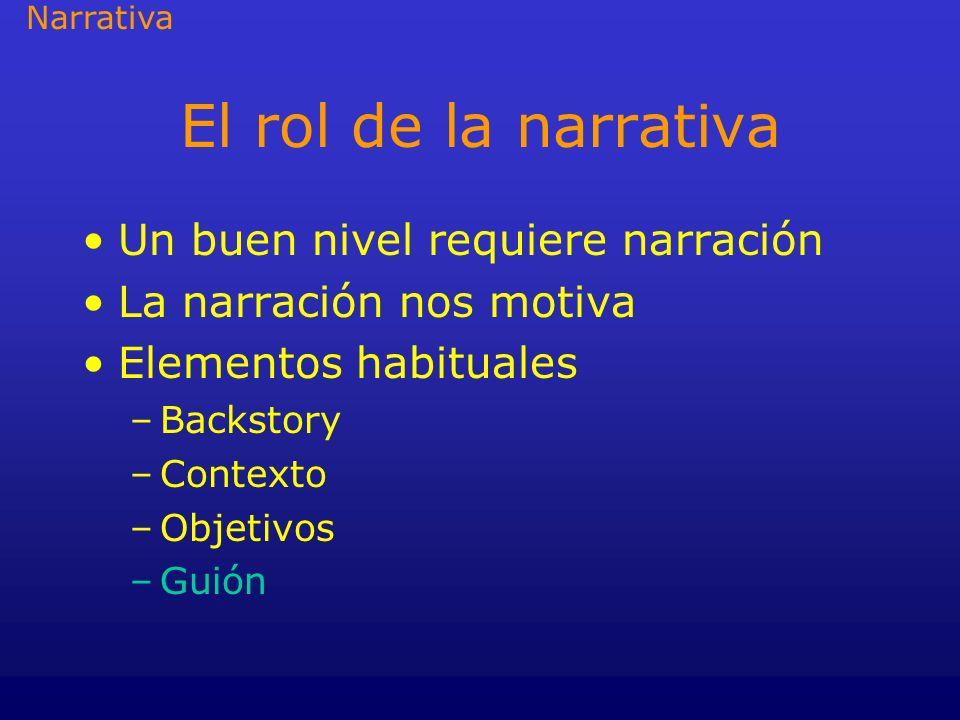El rol de la narrativa Un buen nivel requiere narración La narración nos motiva Elementos habituales –Backstory –Contexto –Objetivos –Guión Narrativa