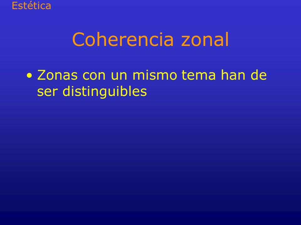 Coherencia zonal Zonas con un mismo tema han de ser distinguibles Estética