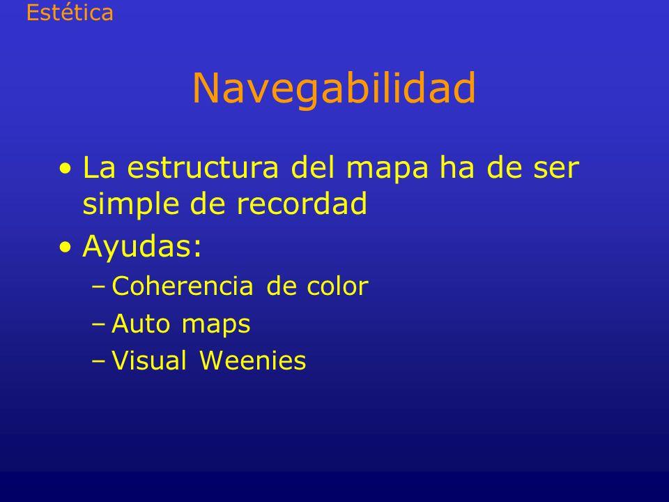 Navegabilidad La estructura del mapa ha de ser simple de recordad Ayudas: –Coherencia de color –Auto maps –Visual Weenies Estética