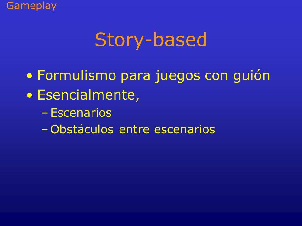 Story-based Formulismo para juegos con guión Esencialmente, –Escenarios –Obstáculos entre escenarios Gameplay