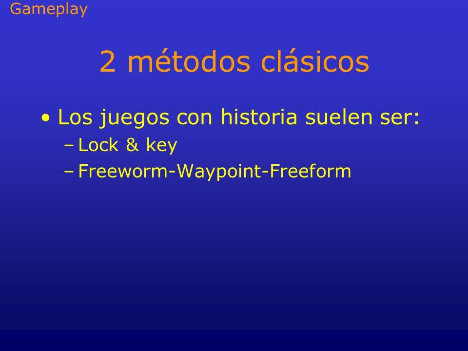 2 métodos clásicos Los juegos con historia suelen ser: –Lock & key –Freeworm-Waypoint-Freeform Gameplay
