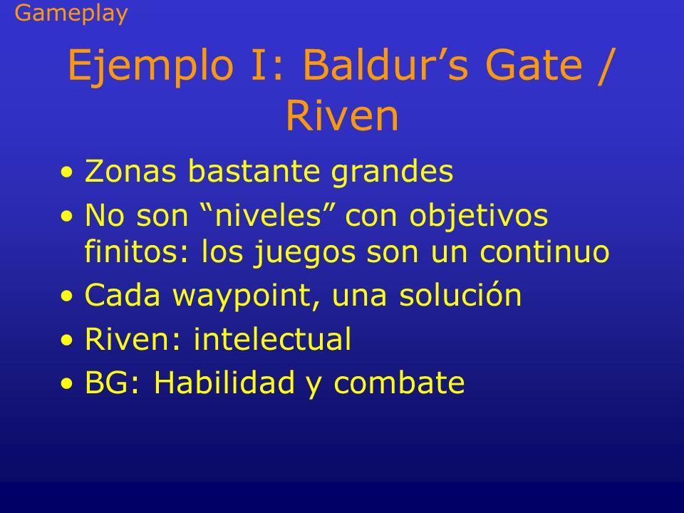 Ejemplo I: Baldurs Gate / Riven Zonas bastante grandes No son niveles con objetivos finitos: los juegos son un continuo Cada waypoint, una solución Ri