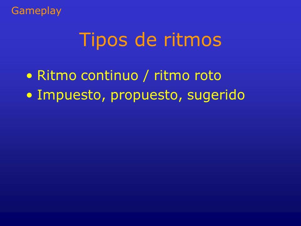 Tipos de ritmos Ritmo continuo / ritmo roto Impuesto, propuesto, sugerido Gameplay
