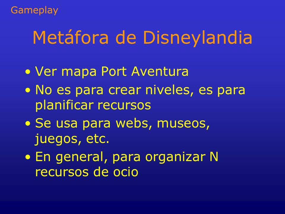 Metáfora de Disneylandia Ver mapa Port Aventura No es para crear niveles, es para planificar recursos Se usa para webs, museos, juegos, etc. En genera