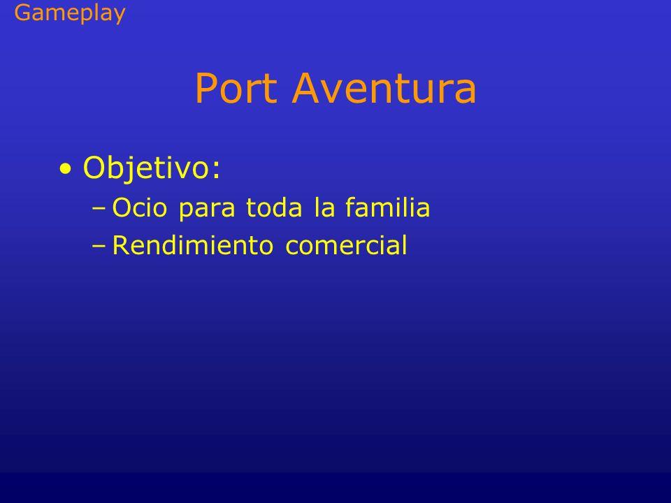Port Aventura Objetivo: –Ocio para toda la familia –Rendimiento comercial Gameplay