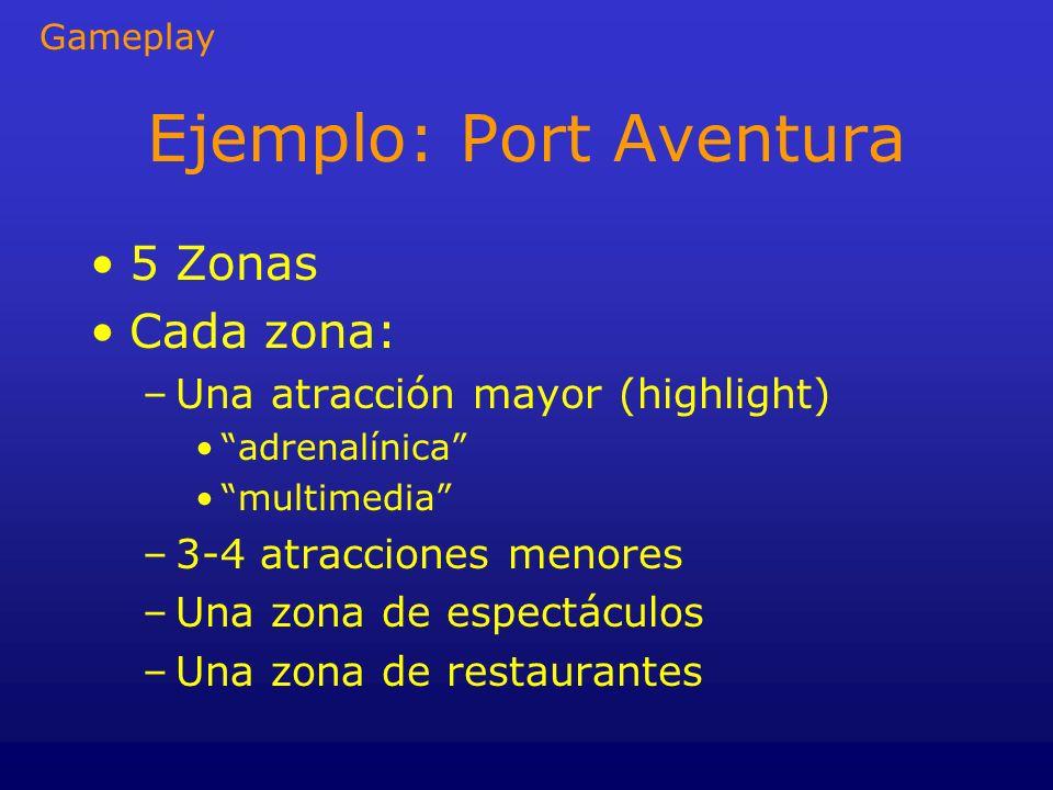 Ejemplo: Port Aventura 5 Zonas Cada zona: –Una atracción mayor (highlight) adrenalínica multimedia –3-4 atracciones menores –Una zona de espectáculos