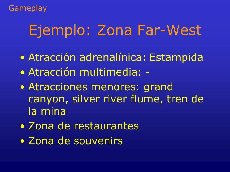 Ejemplo: Zona Far-West Atracción adrenalínica: Estampida Atracción multimedia: - Atracciones menores: grand canyon, silver river flume, tren de la min