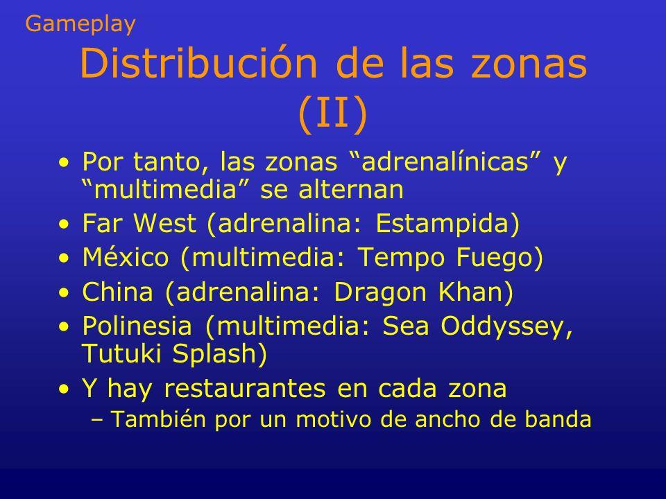 Distribución de las zonas (II) Por tanto, las zonas adrenalínicas y multimedia se alternan Far West (adrenalina: Estampida) México (multimedia: Tempo