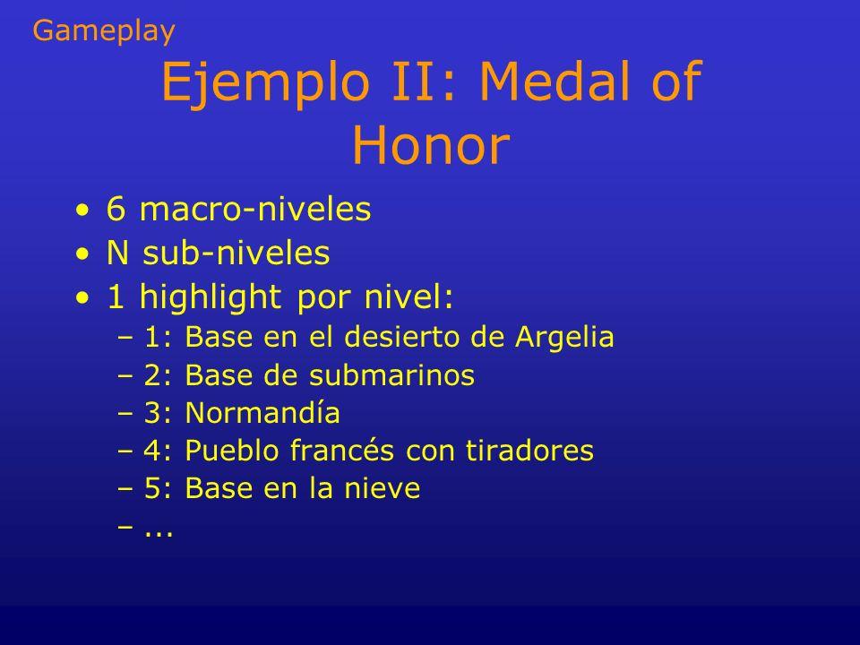 Ejemplo II: Medal of Honor 6 macro-niveles N sub-niveles 1 highlight por nivel: –1: Base en el desierto de Argelia –2: Base de submarinos –3: Normandí