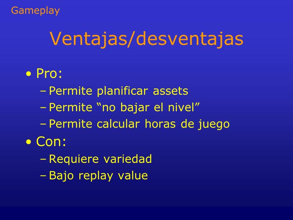 Ventajas/desventajas Pro: –Permite planificar assets –Permite no bajar el nivel –Permite calcular horas de juego Con: –Requiere variedad –Bajo replay