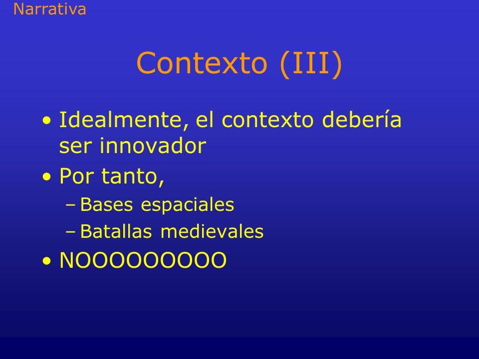 Metodología (II) Pensar: –La highlight visual –La highlight a nivel acción –Distribuir los puntos de conflicto/acertijos –Distribuir las pociones, etc.