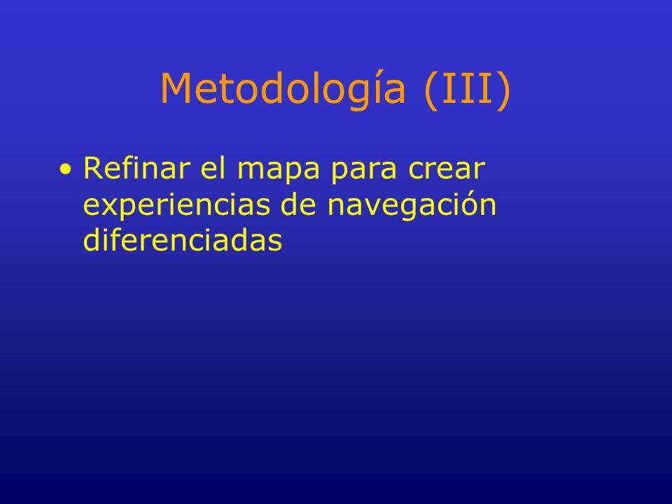 Metodología (III) Refinar el mapa para crear experiencias de navegación diferenciadas