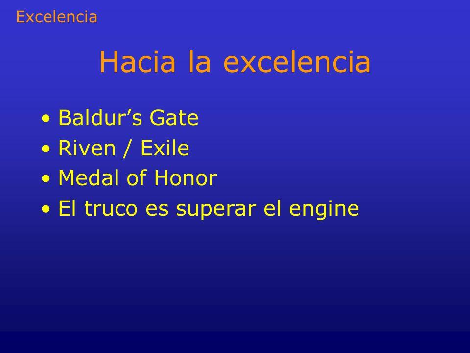 Hacia la excelencia Baldurs Gate Riven / Exile Medal of Honor El truco es superar el engine Excelencia