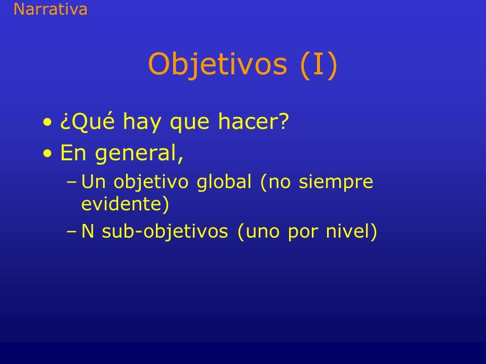 Objetivos (I) ¿Qué hay que hacer? En general, –Un objetivo global (no siempre evidente) –N sub-objetivos (uno por nivel) Narrativa