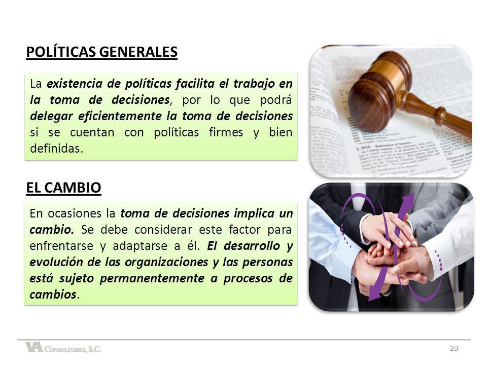 POLÍTICAS GENERALES La existencia de políticas facilita el trabajo en la toma de decisiones, por lo que podrá delegar eficientemente la toma de decisi