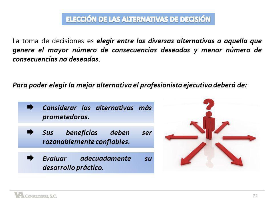 La toma de decisiones es elegir entre las diversas alternativas a aquella que genere el mayor número de consecuencias deseadas y menor número de conse