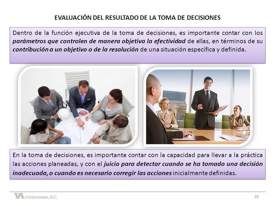 En la toma de decisiones, es importante contar con la capacidad para llevar a la práctica las acciones planeadas, y con el juicio para detectar cuando