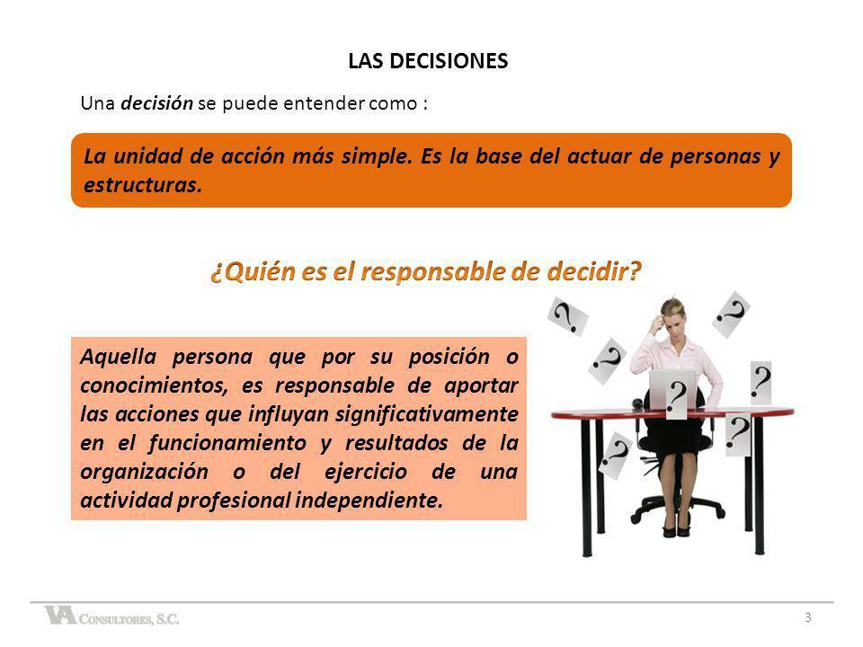 Una decisión se puede entender como : LAS DECISIONES 3 Aquella persona que por su posición o conocimientos, es responsable de aportar las acciones que