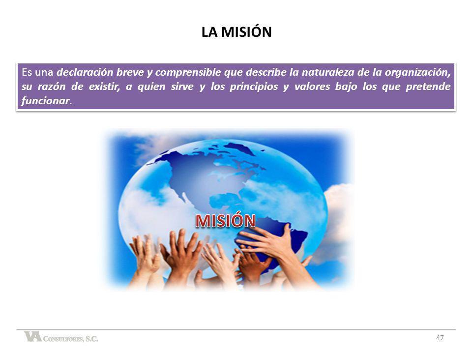 47 LA MISIÓN Es una declaración breve y comprensible que describe la naturaleza de la organización, su razón de existir, a quien sirve y los principio