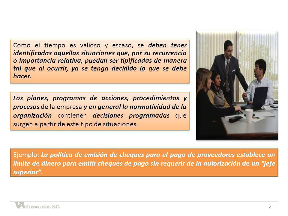 Los planes, programas de acciones, procedimientos y procesos de la empresa y en general la normatividad de la organización contienen decisiones progra