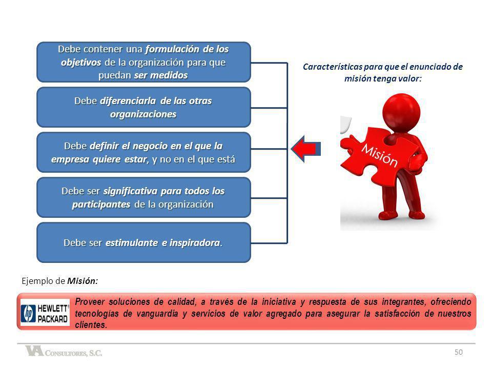 50 Ejemplo de Misión: Características para que el enunciado de misión tenga valor: Debe contener una formulación de los objetivos de la organización p