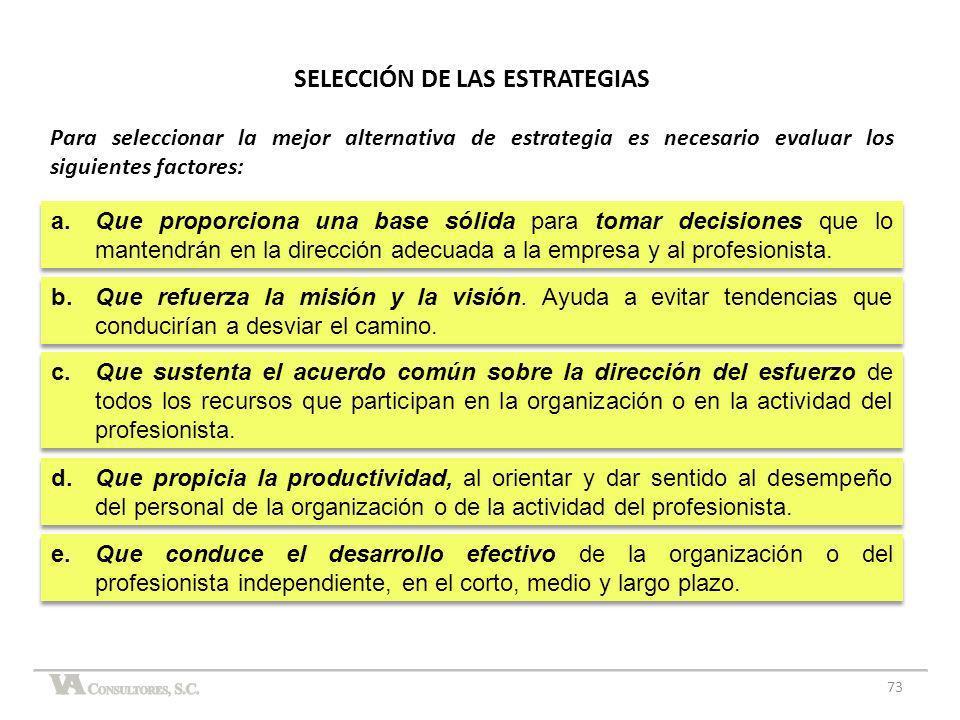 73 SELECCIÓN DE LAS ESTRATEGIAS Para seleccionar la mejor alternativa de estrategia es necesario evaluar los siguientes factores:
