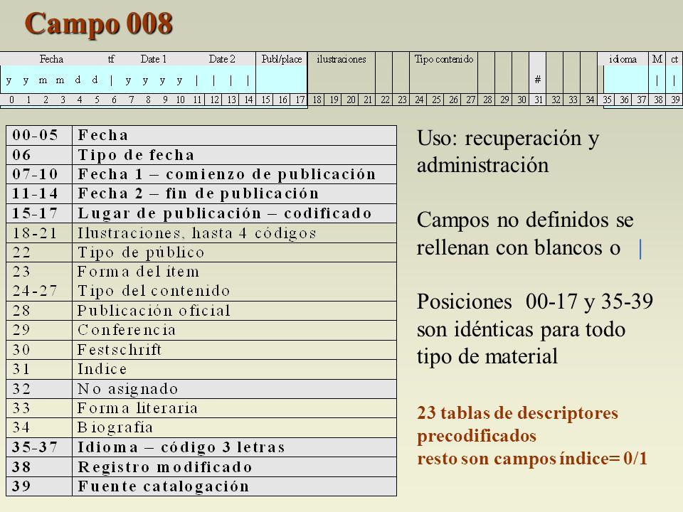 Campo 008 Uso: recuperación y administración Campos no definidos se rellenan con blancos o | Posiciones 00-17 y 35-39 son idénticas para todo tipo de