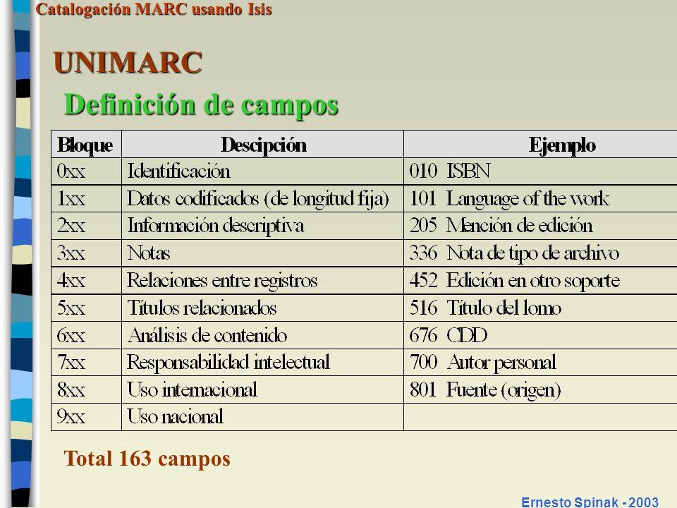 Catalogación MARC usando Isis Ernesto Spinak - 2003 UNIMARC Definición de campos Total 163 campos