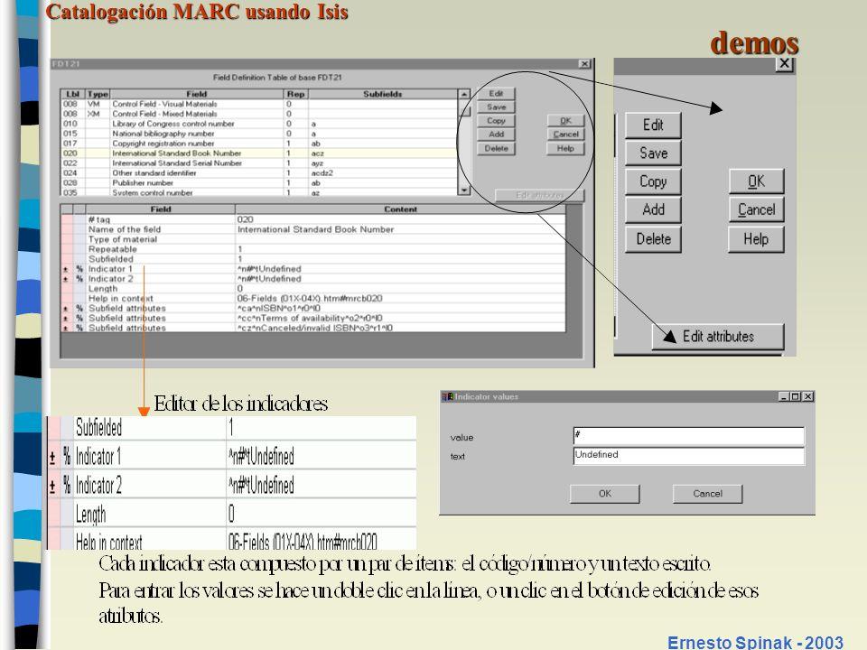 Catalogación MARC usando Isis Ernesto Spinak - 2003 Conversión de registros Realizar un plan de migración/conversión Catalogación original (materiales nuevos) Desde fichas catalográficas (variación de las reglas con el tiempo) Desde archivos automatizados propios de terceros: CD-ROM (tagged o ISO2709), online