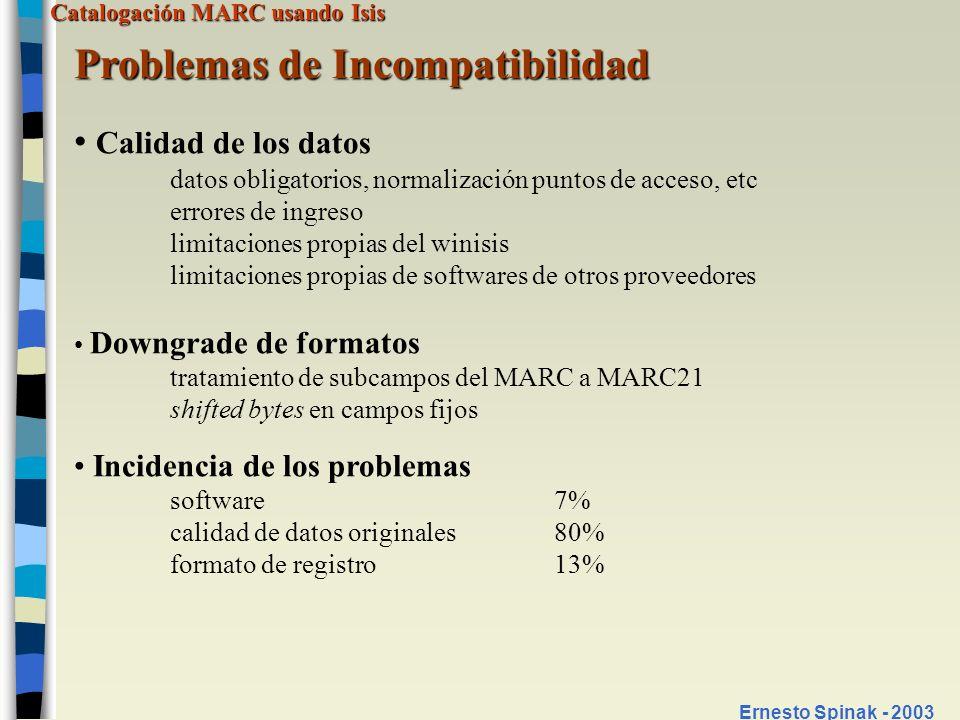 Catalogación MARC usando Isis Ernesto Spinak - 2003 Problemas de Incompatibilidad Calidad de los datos datos obligatorios, normalización puntos de acc