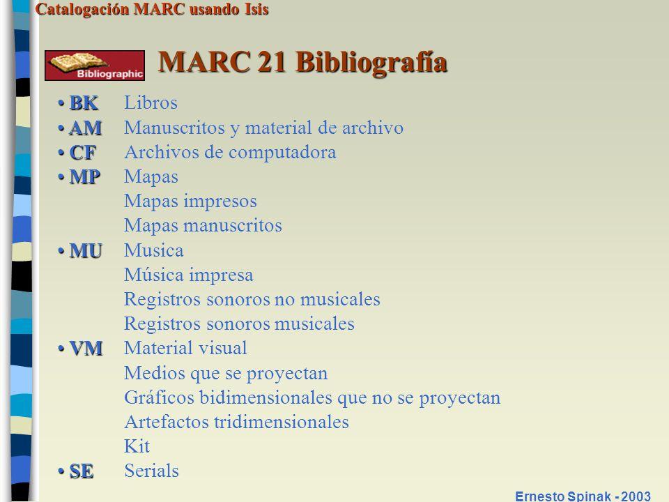 Catalogación MARC usando Isis Ernesto Spinak - 2003 MARC 21 Bibliografía BK BKLibros AM AMManuscritos y material de archivo CF CFArchivos de computado