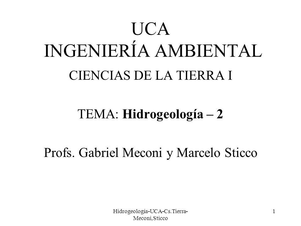 Hidrogeología-UCA-Cs.Tierra- Meconi,Sticco 1 UCA INGENIERÍA AMBIENTAL CIENCIAS DE LA TIERRA I TEMA: Hidrogeología – 2 Profs. Gabriel Meconi y Marcelo