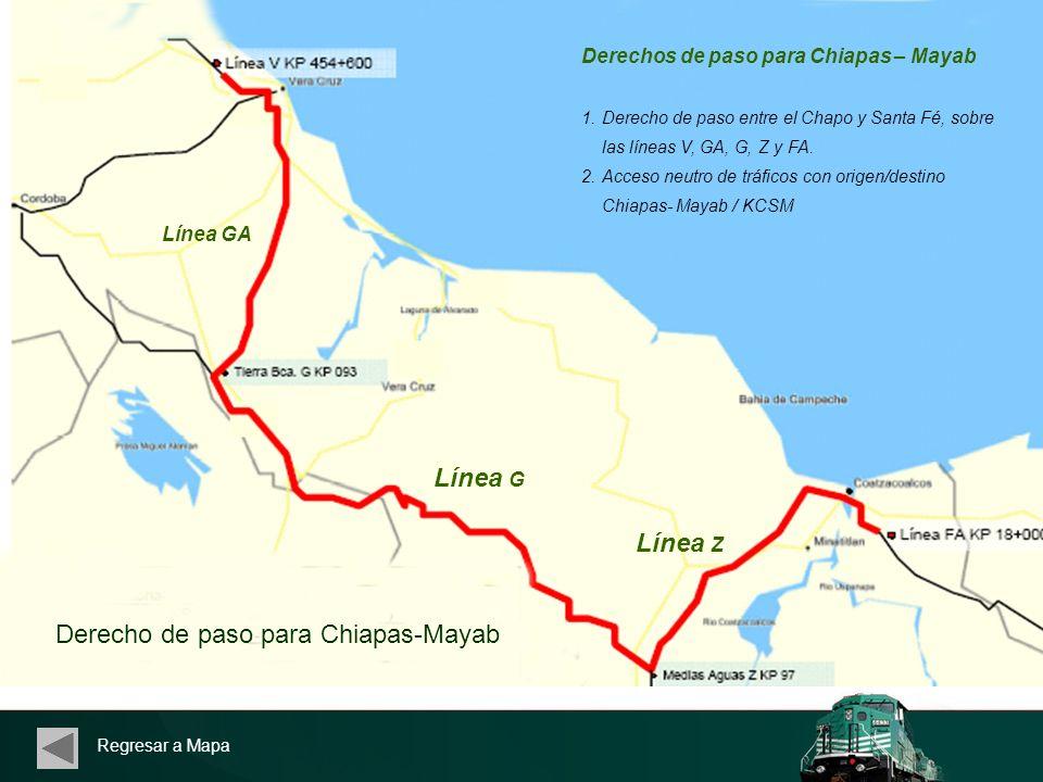 Regresar a Mapa Derechos de paso para Chiapas – Mayab 1.Derecho de paso entre el Chapo y Santa Fé, sobre las líneas V, GA, G, Z y FA. 2.Acceso neutro
