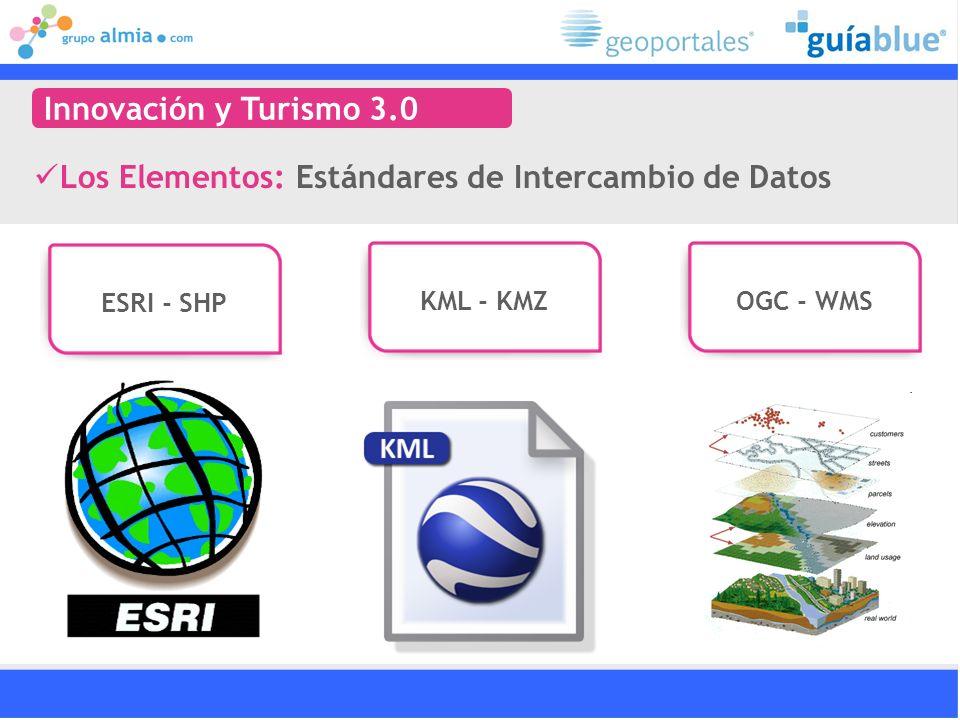 Los Elementos: Estándares de Intercambio de Datos Innovación y Turismo 3.0 ESRI - SHP KML - KMZOGC - WMS