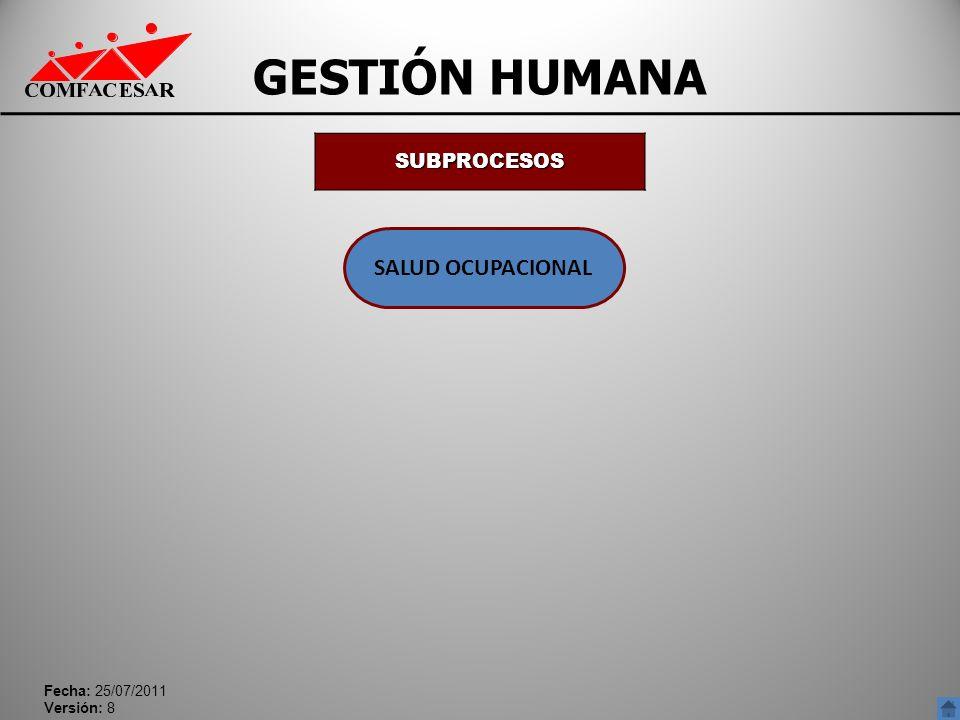 Fecha: 25/07/2011 Versión: 8 GESTIÓN HUMANA SUBPROCESOS SALUD OCUPACIONAL