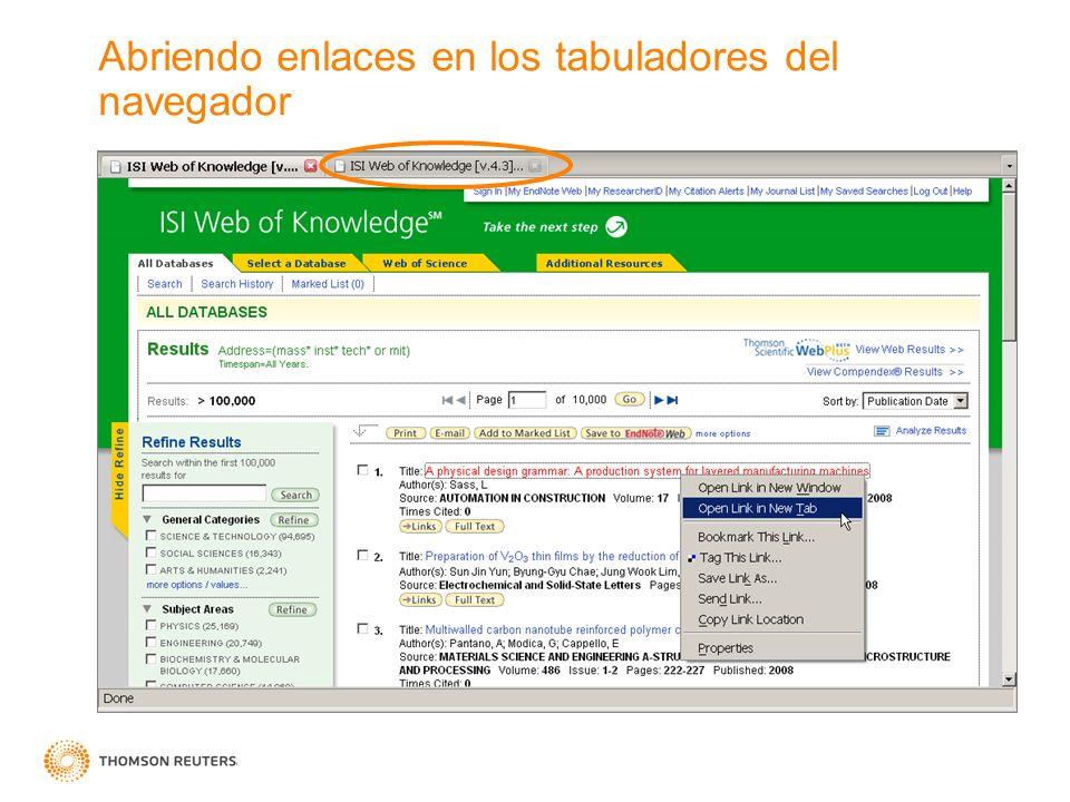 Abriendo enlaces en los tabuladores del navegador