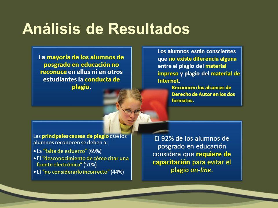 Conclusiones principales La mayoría de los alumnos de posgrado en educación no reconoce en ellos ni en otros estudiantes la conducta de plagio.