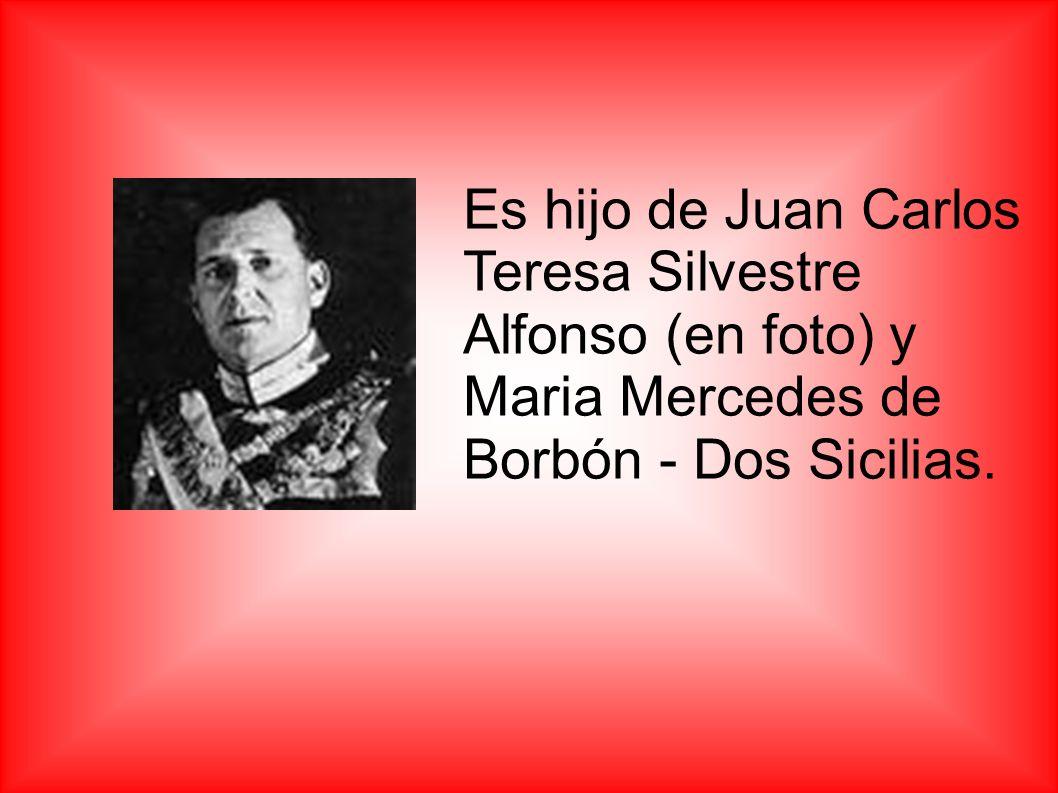Es hijo de Juan Carlos Teresa Silvestre Alfonso (en foto) y Maria Mercedes de Borbón - Dos Sicilias.