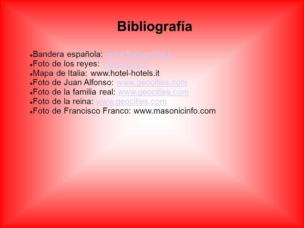 Bibliografía Bandera española: www.flagsonline.itwww.flagsonline.it Foto de los reyes: www.tierra.itwww.tierra.it Mapa de Italia: www.hotel-hotels.it