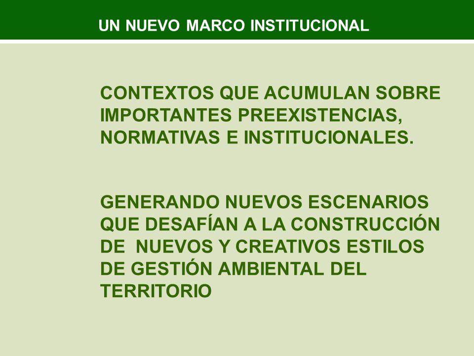 CONTEXTOS QUE ACUMULAN SOBRE IMPORTANTES PREEXISTENCIAS, NORMATIVAS E INSTITUCIONALES.