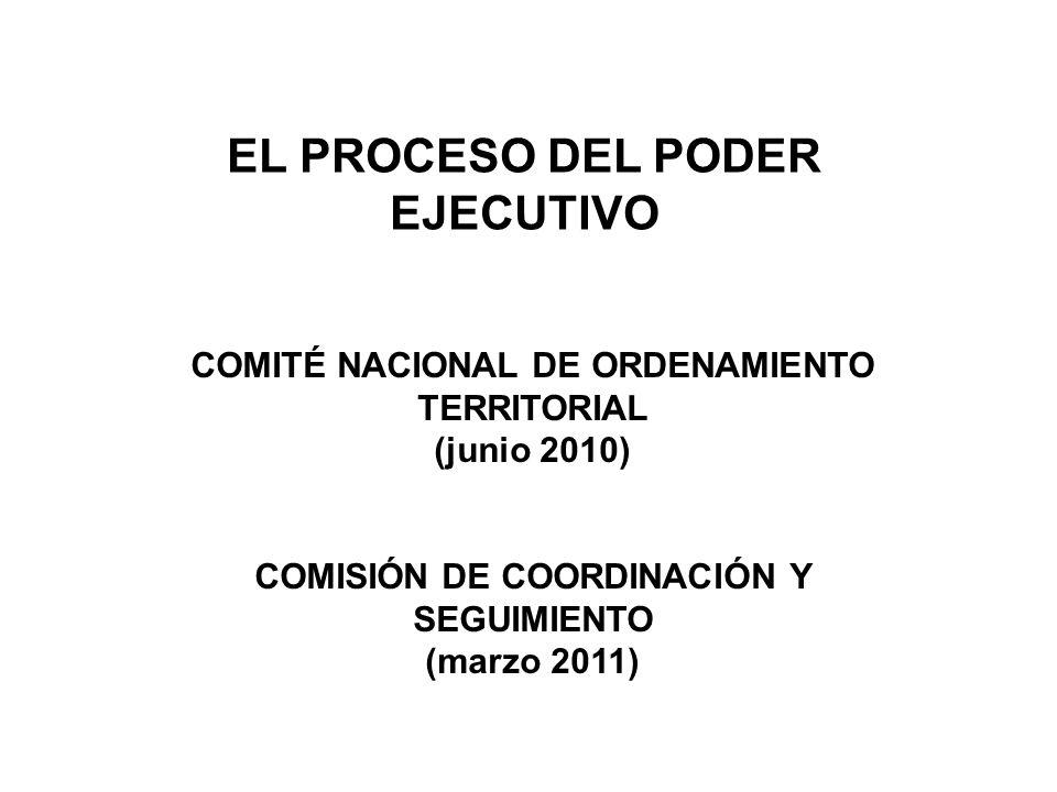 EL PROCESO DEL PODER EJECUTIVO COMITÉ NACIONAL DE ORDENAMIENTO TERRITORIAL (junio 2010) COMISIÓN DE COORDINACIÓN Y SEGUIMIENTO (marzo 2011)
