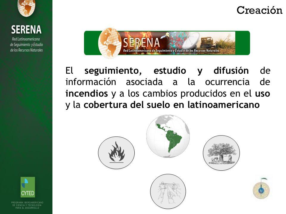 Creación El seguimiento, estudio y difusión de información asociada a la ocurrencia de incendios y a los cambios producidos en el uso y la cobertura del suelo en latinoamericano