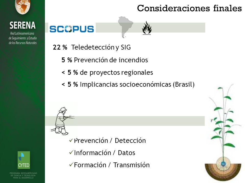 Consideraciones finales Prevención / Detección Información / Datos Formación / Transmisión 22 % Teledetección y SIG 5 % Prevención de incendios < 5 % de proyectos regionales < 5 % Implicancias socioeconómicas (Brasil)