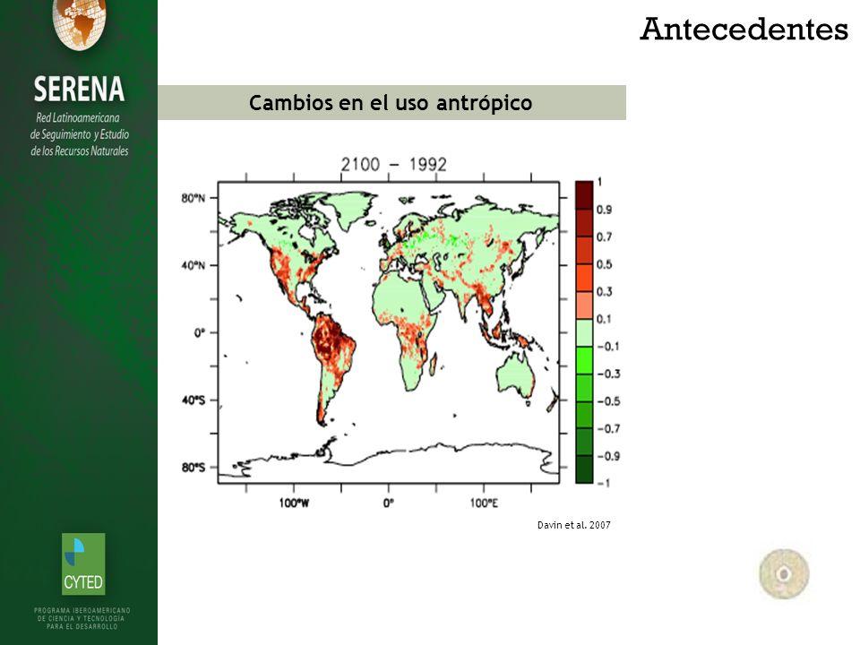 Antecedentes Davin et al. 2007 Cambios en el uso antrópico