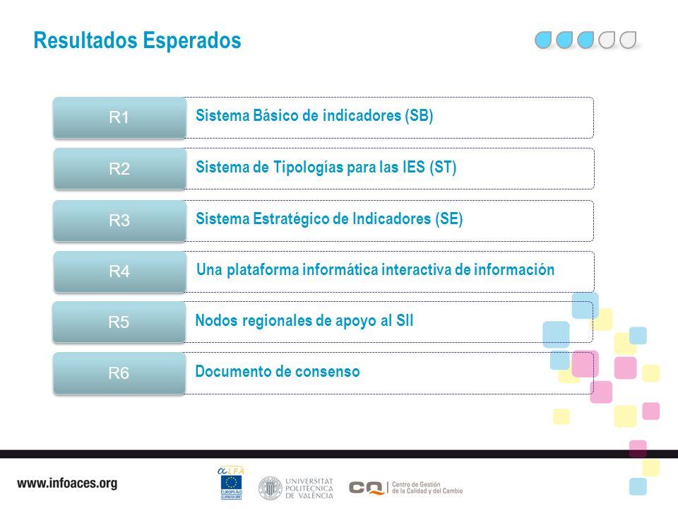 Fomentar el desarrollo de la FE Resultados Esperados Sistema Básico de indicadores (SB) R1 Sistema de Tipologías para las IES (ST) R2 Sistema Estratégico de Indicadores (SE) R3 Una plataforma informática interactiva de información R4 Nodos regionales de apoyo al SII R5 Documento de consenso R6