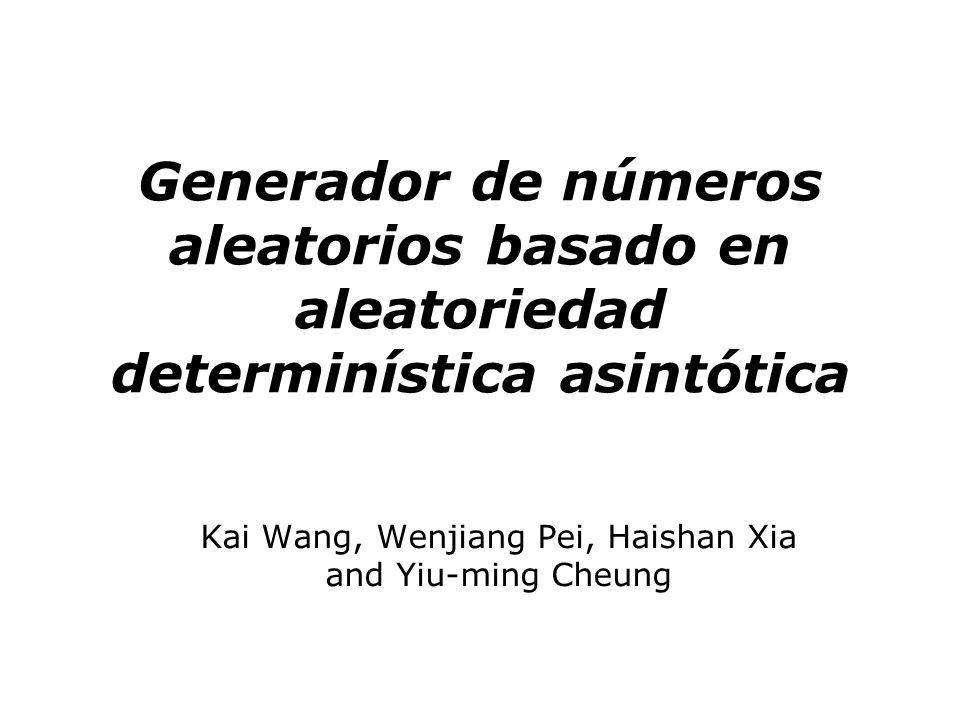 Generador de números aleatorios basado en aleatoriedad determinística asintótica Se propone el diseño de un generador de números aleatorios que emplea el concepto de la aleatoriedad deterministica (asymptotic deterministic randomness), fundamentalmente haciendo uso de lo que se denomina la correspondencia multi valor (multi-value correspondence).
